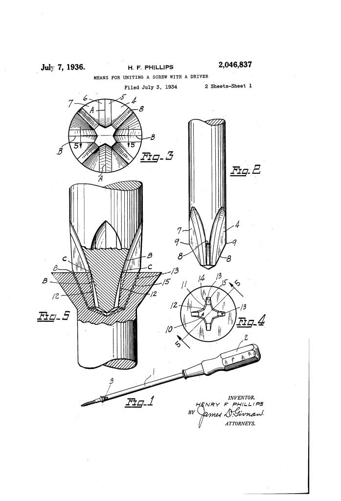 Патент US2046837-0 на крестовой шлиц
