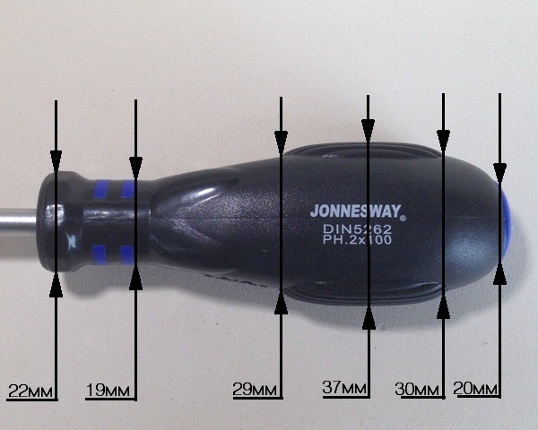 Профиль рукоятки на отвёртке Jonnesway Hercules