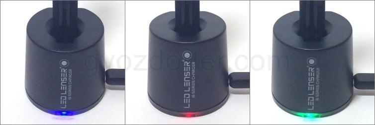 Индикация режимов зарядки фонаря Led Lenser i6ER