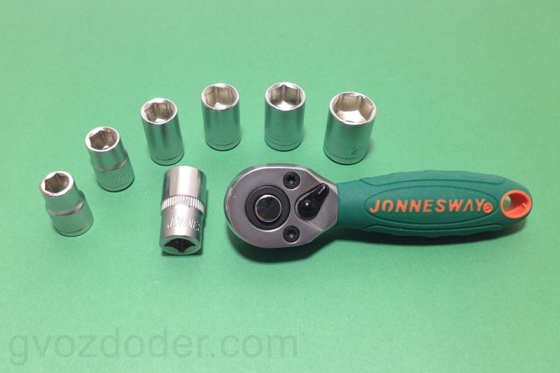 """Трещотка короткая силовая Jonnesway 1/4""""DR R2902B"""