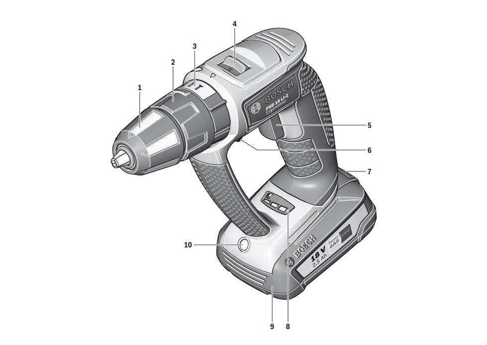Схема устройства шуруповерта PSB 18 Li-2 Ergonomic